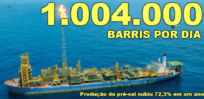 Pré-sal alcança 1 milhão de barris de óleo e gás por dia (você não vai ver isso no jn)